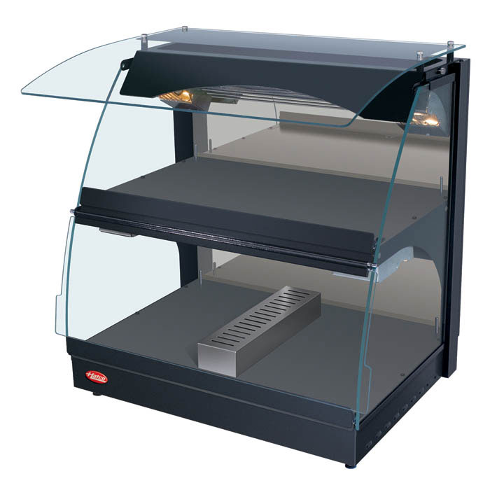 "Hatco GRCMW-1DH 26"" Self-Service Countertop Heated Display Case w/ Curved Glass - (2) Levels, White, 120v"