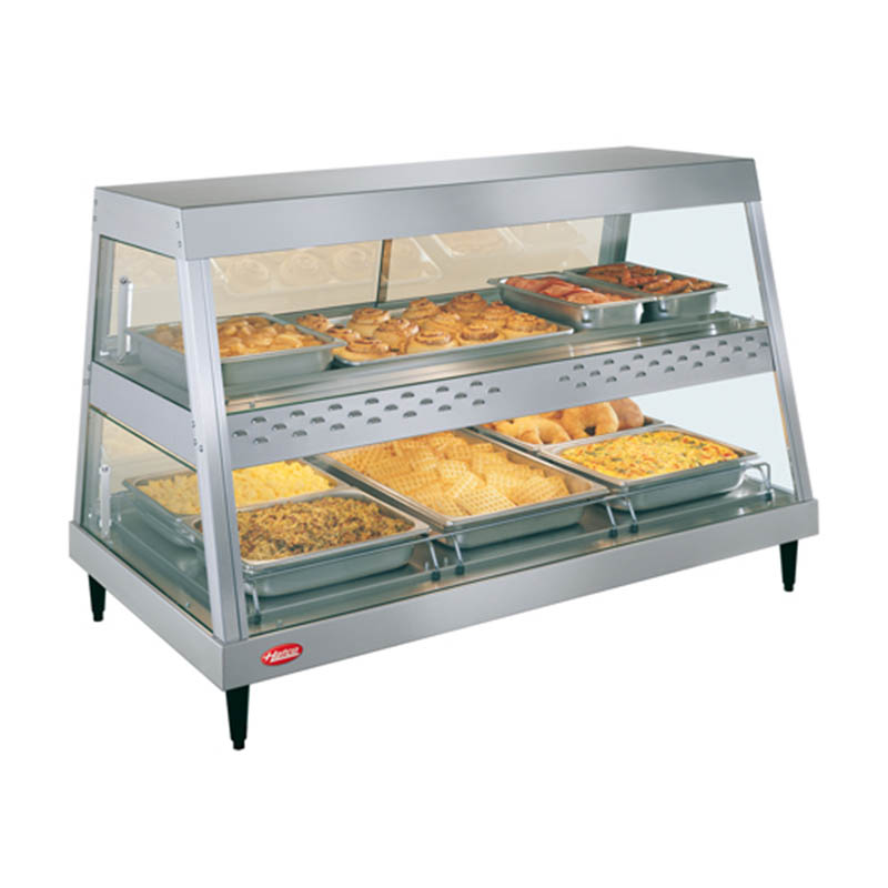 Hatco GRHD-3PD Heated Display, See-Thru, 2-Shelves, 3-Pan Each, 1755 Watts