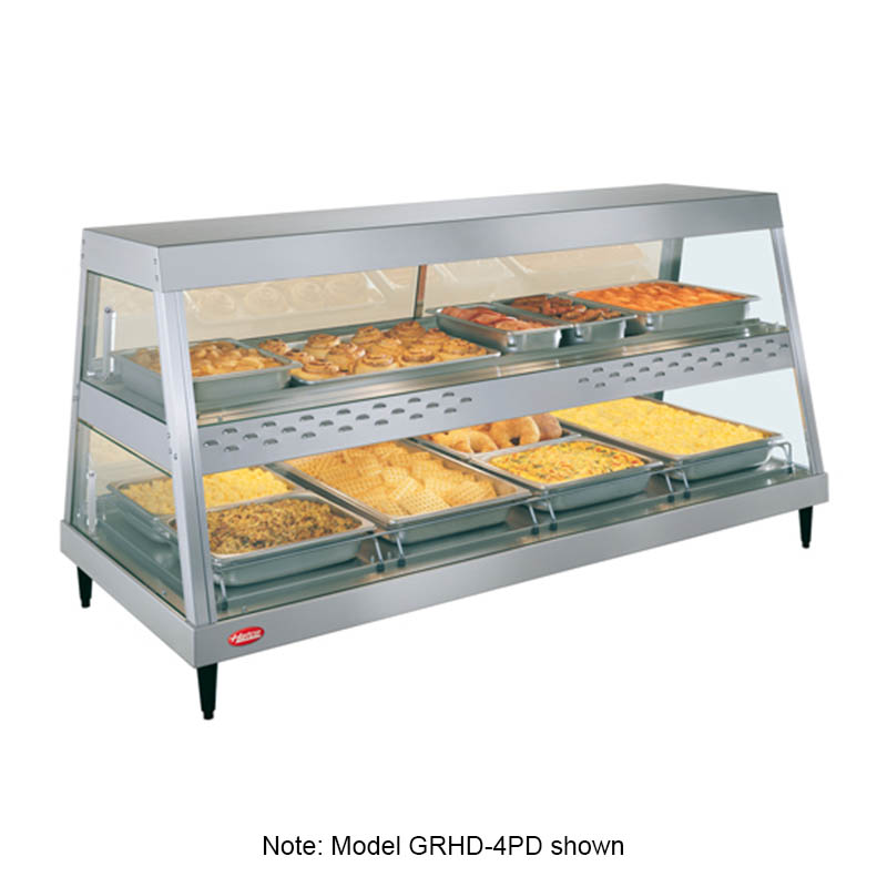 "Hatco GRHD-4P 58.5"" Heated See-Thru Display Case w/ 4-Pan Shelf, 120 V"