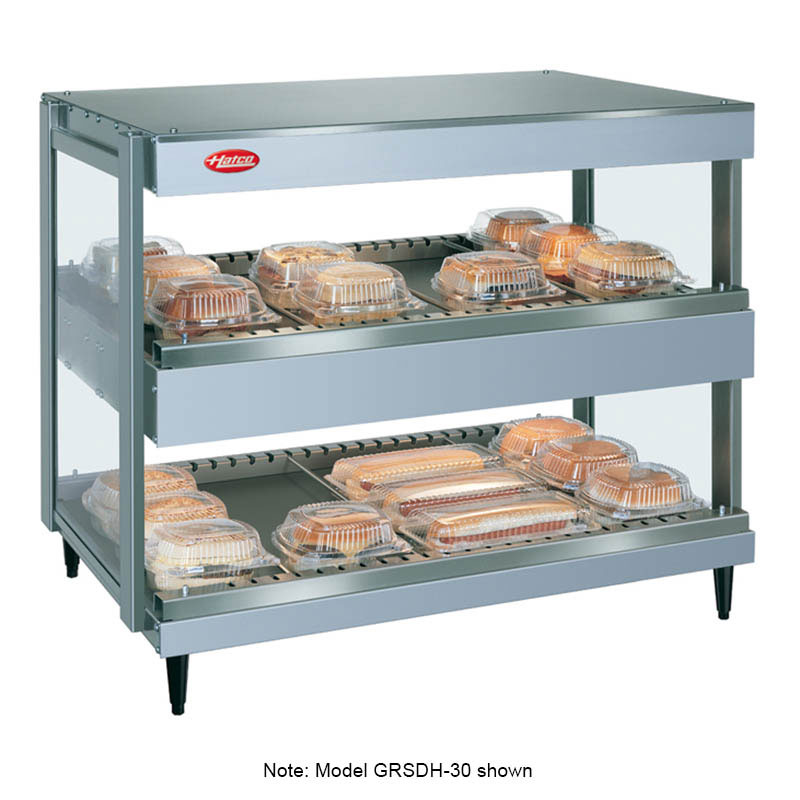 "Hatco GRSDH-41D 41"" Self-Service Countertop Heated Display Shelf - (2) Shelves, 120v"