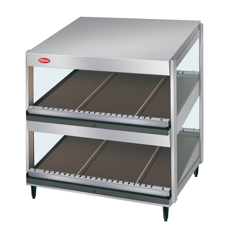 Hatco GRSDS-24D Pass Thru Merchandising Warmer, Slanted Shelves, 10-Rods, 1355 W