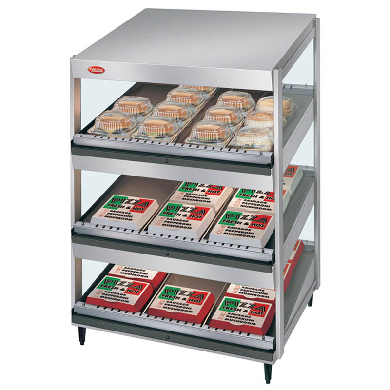 Hatco GRSDS-36T 36-in Merchandising Warmer, 3-Tier w/ Forward Slant Shelves, 120 V