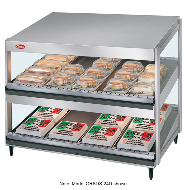 Hatco GRSDS-36D-120-QS Pass Thru Merchandising Warmer, Slanted Shelves, 14-Rods, 1810 W