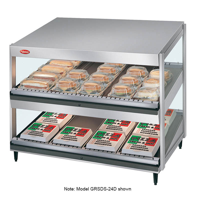 "Hatco GRSDS-41D 41"" Self-Service Countertop Heated Display Shelf - (2) Shelves, 120v"