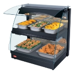 "Hatco GRCMW-1D 26"" Self-Service Countertop Heated Display Case w/ Curved Glass - (2) Levels, Black, 120v"