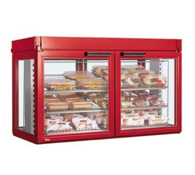 Hatco LFST-48-2X 208 RED Merchandising Cabinet w/ 4-Glass Rear Doors, Red, 208 V