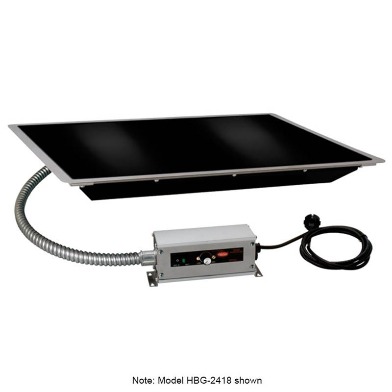 "Hatco HBG-6018 60"" Portable Heated Glass Shelf w/ Thermo Control, Black, 120 V"