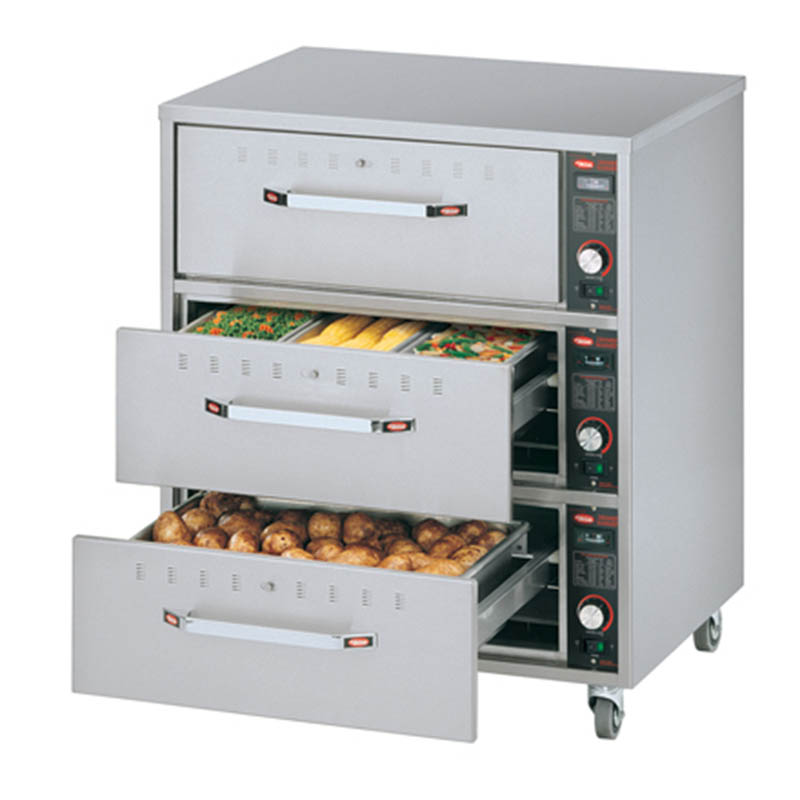 Hatco HDW-3N 240 Freestanding Narrow Warming 3-Drawer Unit For Standard Pans, 240 V
