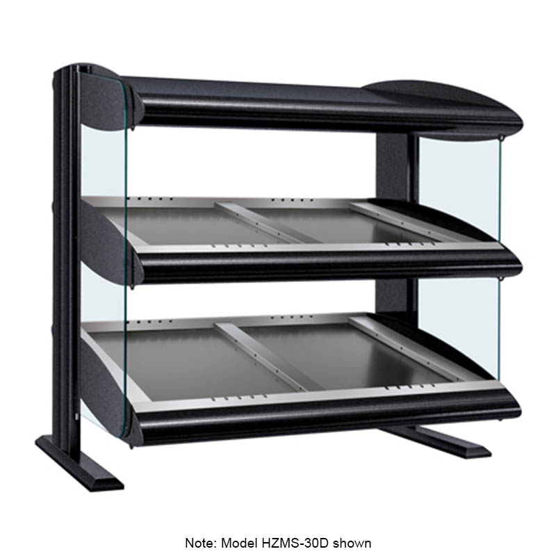 Hatco HZMS-24D Slanted Merchandising Warmer, 2-Shelf & 4-Zone, 6-Divider Rod, LED, 1500-watt
