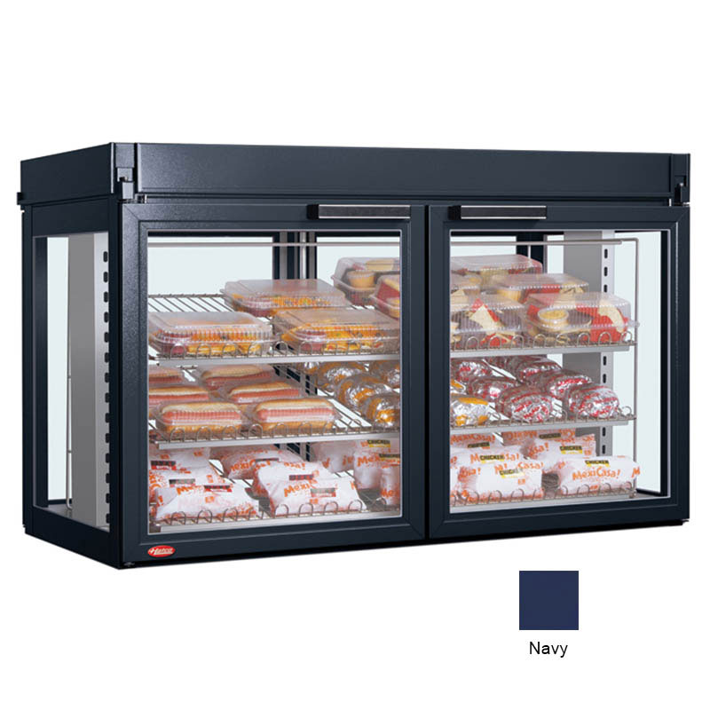Hatco LFST-48-1X 208 NAVY Merchandising Cabinet w/ 2-Glass Rear Doors, Navy, 208 V
