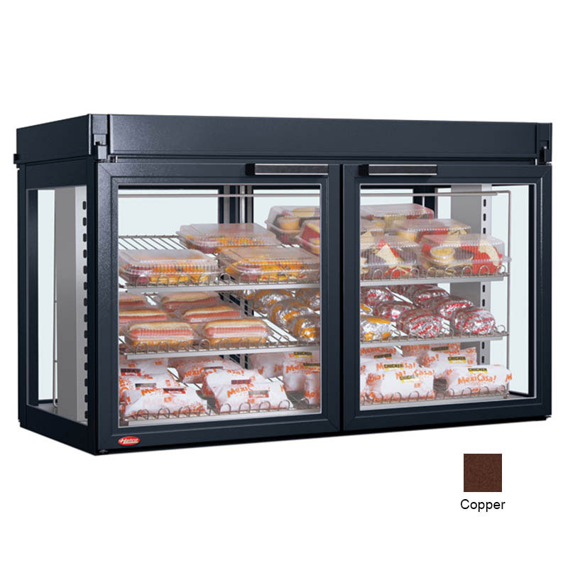 "Hatco LFST-48-1X 48.81"" Full-Service Countertop Heated Display Case - (3) Shelves, Copper, 240v/1ph"