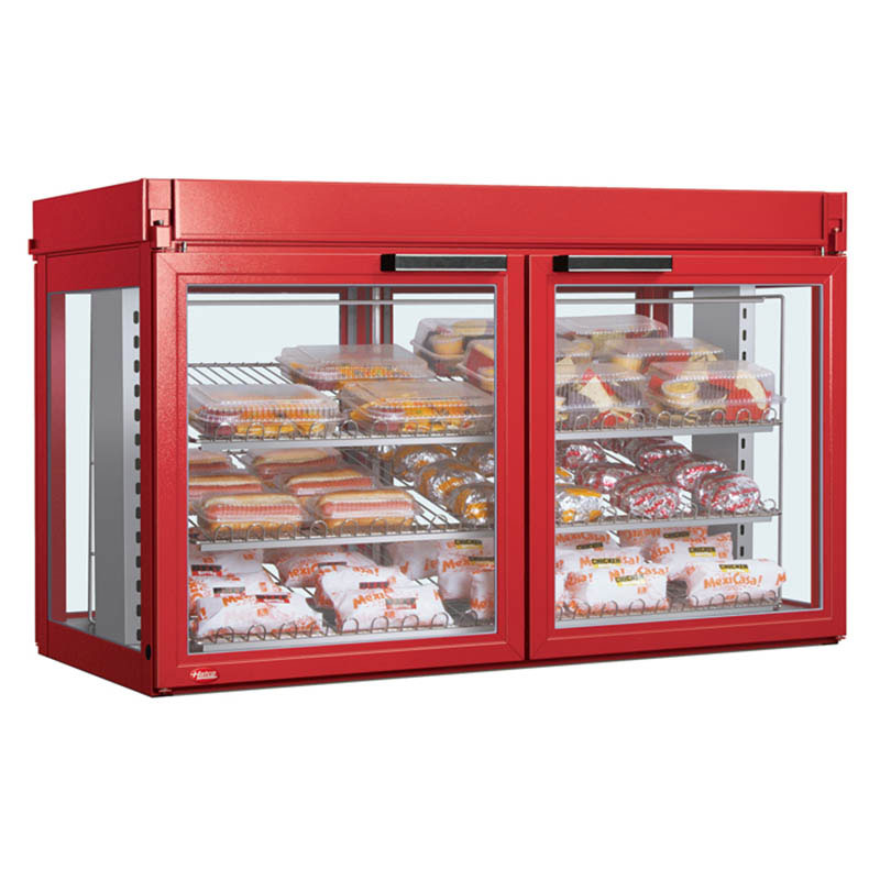 "Hatco LFST-48-1X 48.81"" Full-Service Countertop Heated Display Case - (3) Shelves, Red, 240v/1ph"