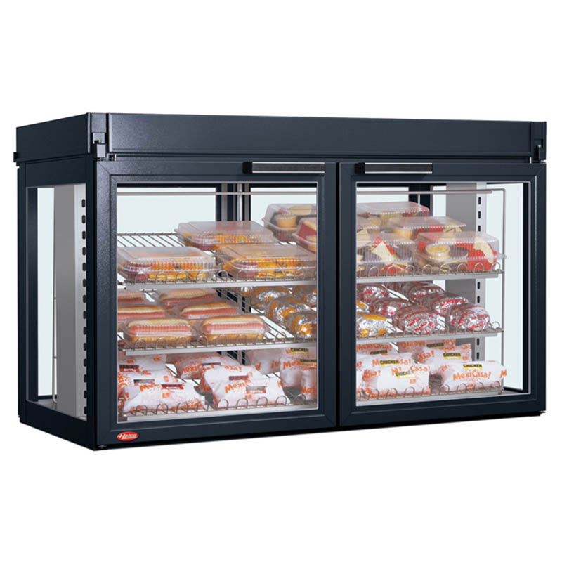 "Hatco LFST-48-2X 208 BLACK 48.81"" Self-Service Countertop Heated Display Case - (3) Shelves, Black, 208v/1ph"