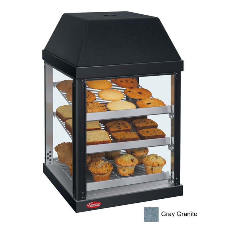"Hatco MDW-1X 15.75"" Full-Service Countertop Heated Display Case - (3) Shelves, Gray, 120v"