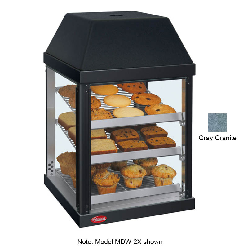 "Hatco MDW-2X 15.75"" Self-Service Countertop Heated Display Case - (3) Shelves, Gray, 120v"
