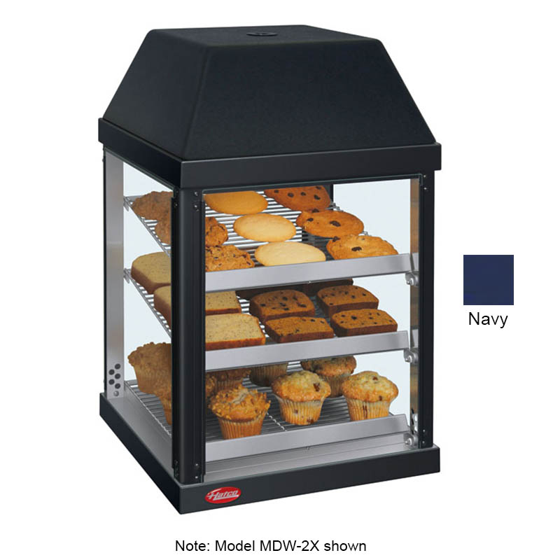 Hatco MDW-2X 120 NAVY Pass-Thru Mini Display Warmer w/ Adjustable Shelves, Navy, 120 V