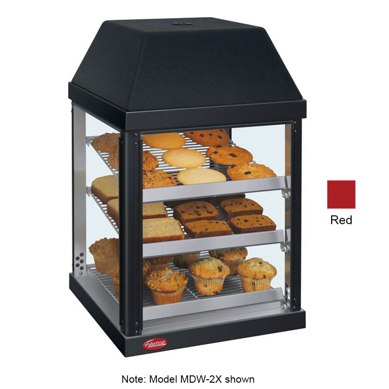 "Hatco MDW-2X 15.75"" Self-Service Countertop Heated Display Case - (3) Shelves, Red, 120v"
