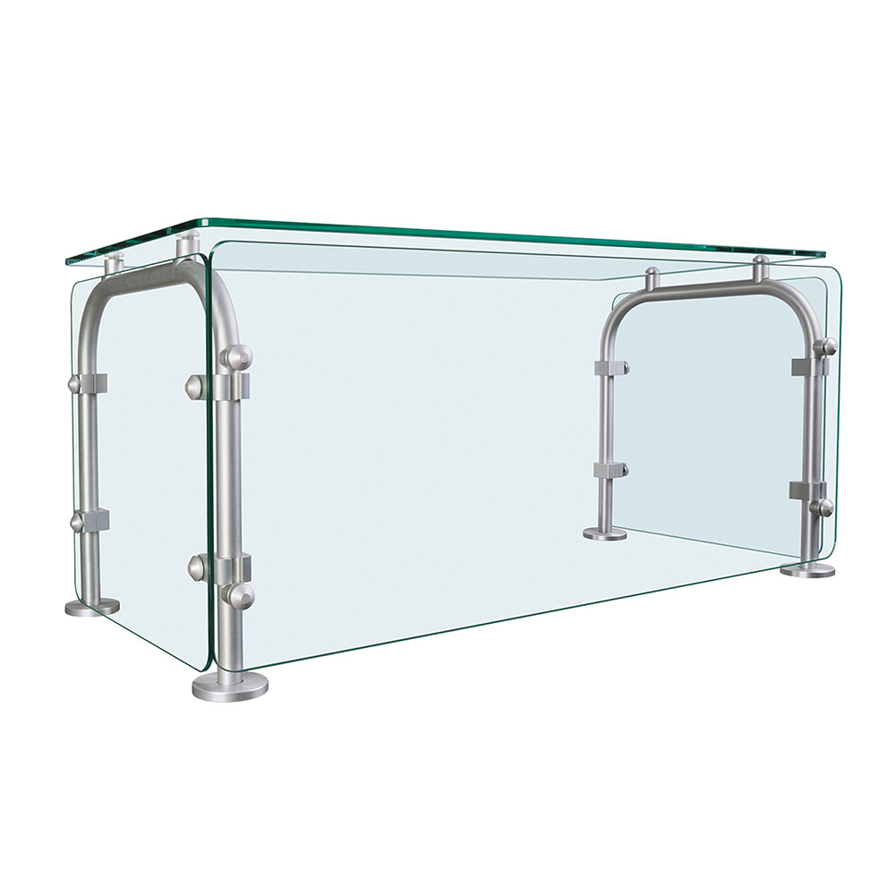 "Hatco SGEN-46 46"" Table-Mounted Sneeze Guard - Enclosed, Aluminum Posts"