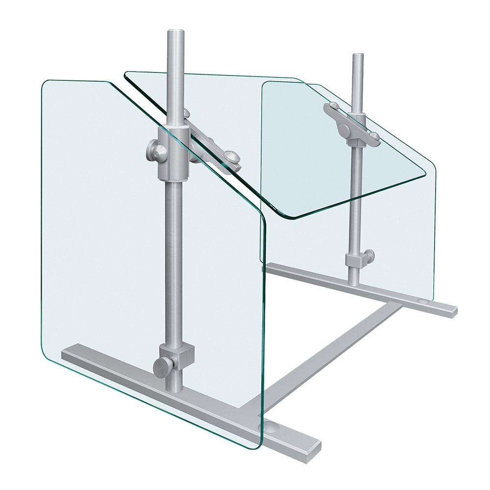 "Hatco SGPT-36 36"" Portable Sneeze Guard - Adjustable Height, Aluminum Posts"