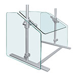 "Hatco SGPT-54 54"" Portable Sneeze Guard - Adjustable Height, Aluminum Posts"
