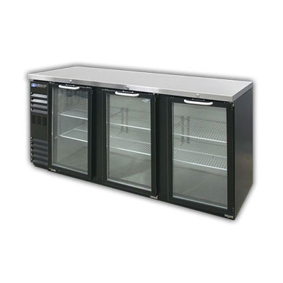 "Master-bilt MBBB72NG 72"" (3) Section Bar Refigerator - Swinging Glass Doors, 115v"