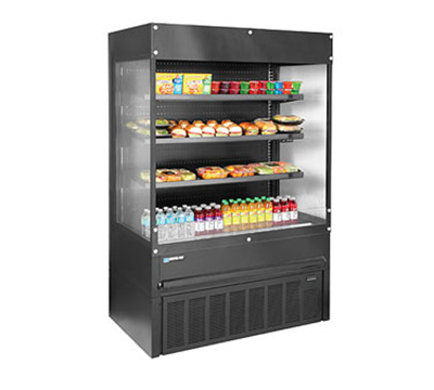"Master-bilt BMOA-36GE 36"" Medium Temp Merchandiser - Open Air, Glass Ends, LED, Black"