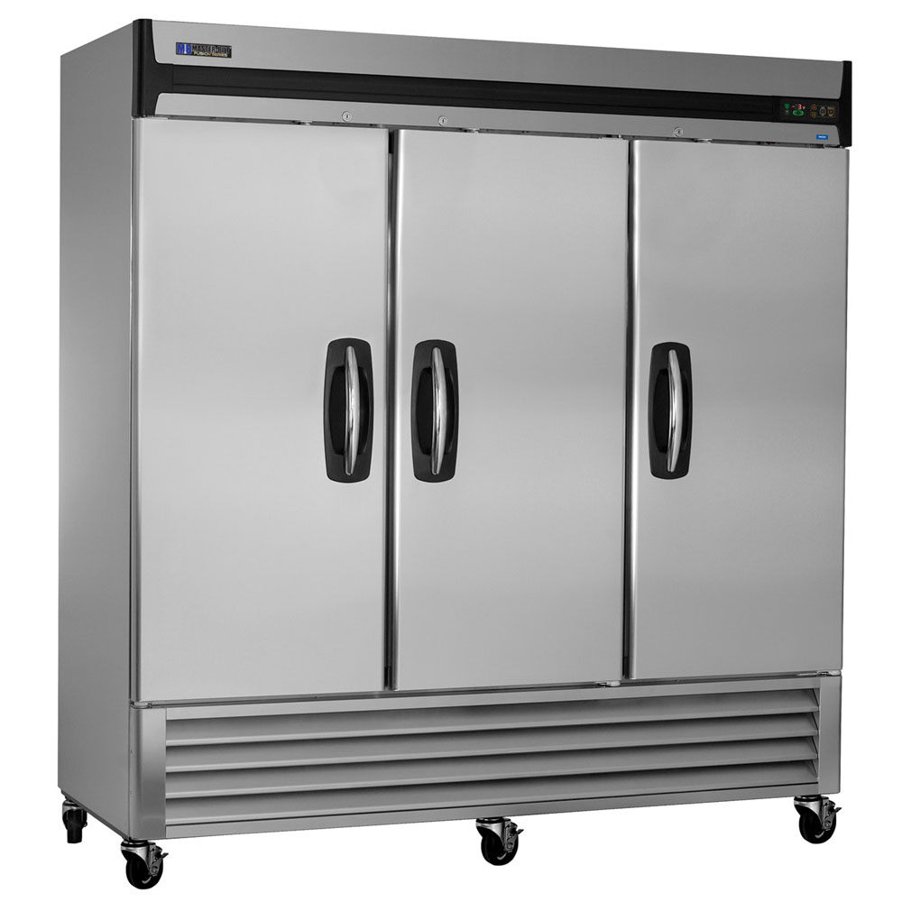 "Master-bilt MBF72-S 78"" Three Section Reach-In Freezer, (3) Solid Doors, 115v"