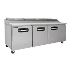 "Master-bilt MBPT93-001 93"" Pizza Prep Table w/ Refrigerated Base, 115v"