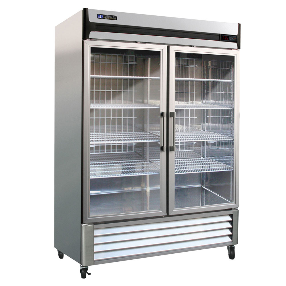 "Master-bilt MBR49G 55"" Two-Section Reach-In Refrigerator, (2) Glass Doors, 115v"