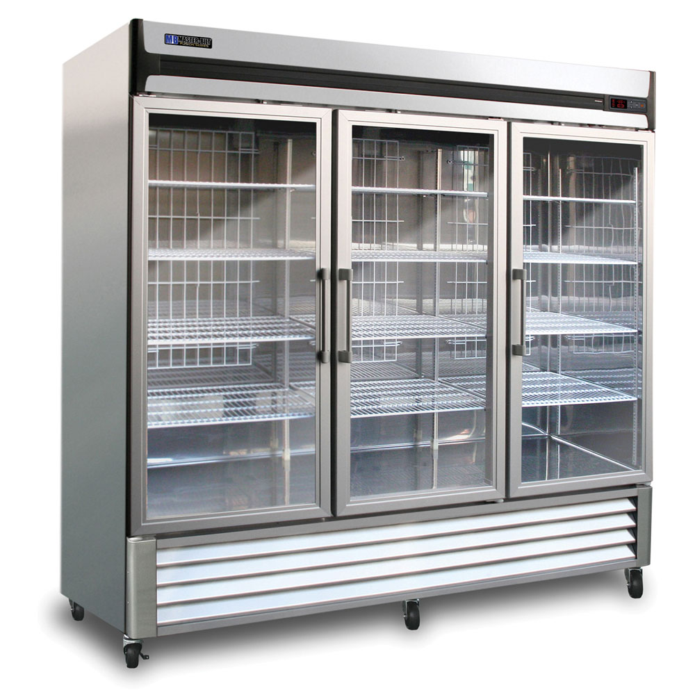 "Master-bilt MBR72G 78"" Three-Section Reach-In Refrigerator, (3) Glass Doors, 115v"