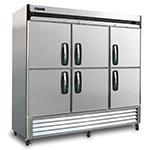 """Master-bilt MBR72SH 78"""" Three-Section Reach-In Refrigerator, (6) Glass Doors, 115v"""