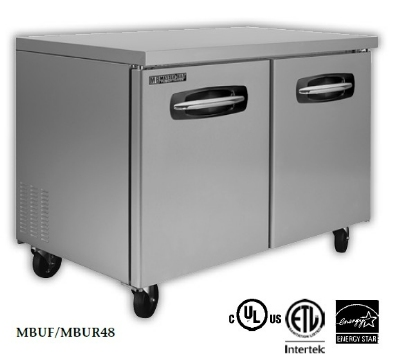 Master-bilt MBUR60-002 16.5-cu ft Undercounter Refrigerator w/ (2) Sections, (2) Drawers & (1) Door, 115v