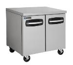 Master-bilt MBUR36 9.4-cu ft Undercounter Refrigerator w/ (2) Sections & (2) Doors, 115v