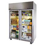 """Master-bilt MNR522SSG/0X 55"""" Two Section Reach-In Refrigerator, (2) Glass Door, 115v"""