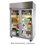 "Master-bilt MNR803SSG/0X 82.5"" Three Section Reach-In Refrigerator, (3) Glass Doors, 115v"