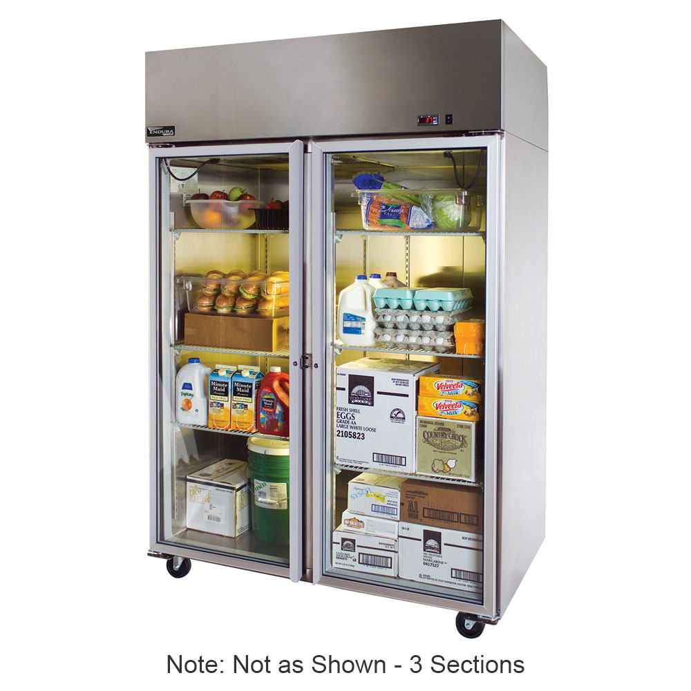 "Master-bilt MNR806SSG/0X 82.5"" Three Section Reach-In Refrigerator, (6) Glass Doors, 115v"