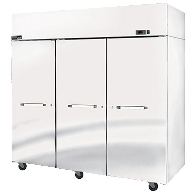 "Master-bilt MPR806SSS/0X 82.5"" Three Section Pass-Thru Refrigerator, (3) Solid Door, 115v"