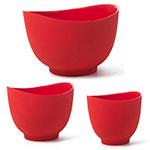 iSi B251 01 Flexible Mixing Bowl Set w/ 1-qt, 1.5-qt & 2-qt Capacity, Form Anywhere Spout, Red