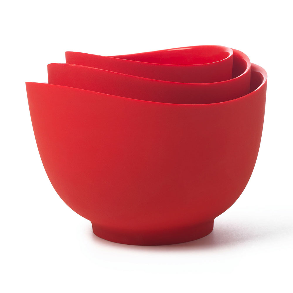 iSi B251 01 Flexible Mixing Bowl Set w/ 1-qt, 1.5-qt & 2-qt Capacity, Form Anywhere Spout, Red