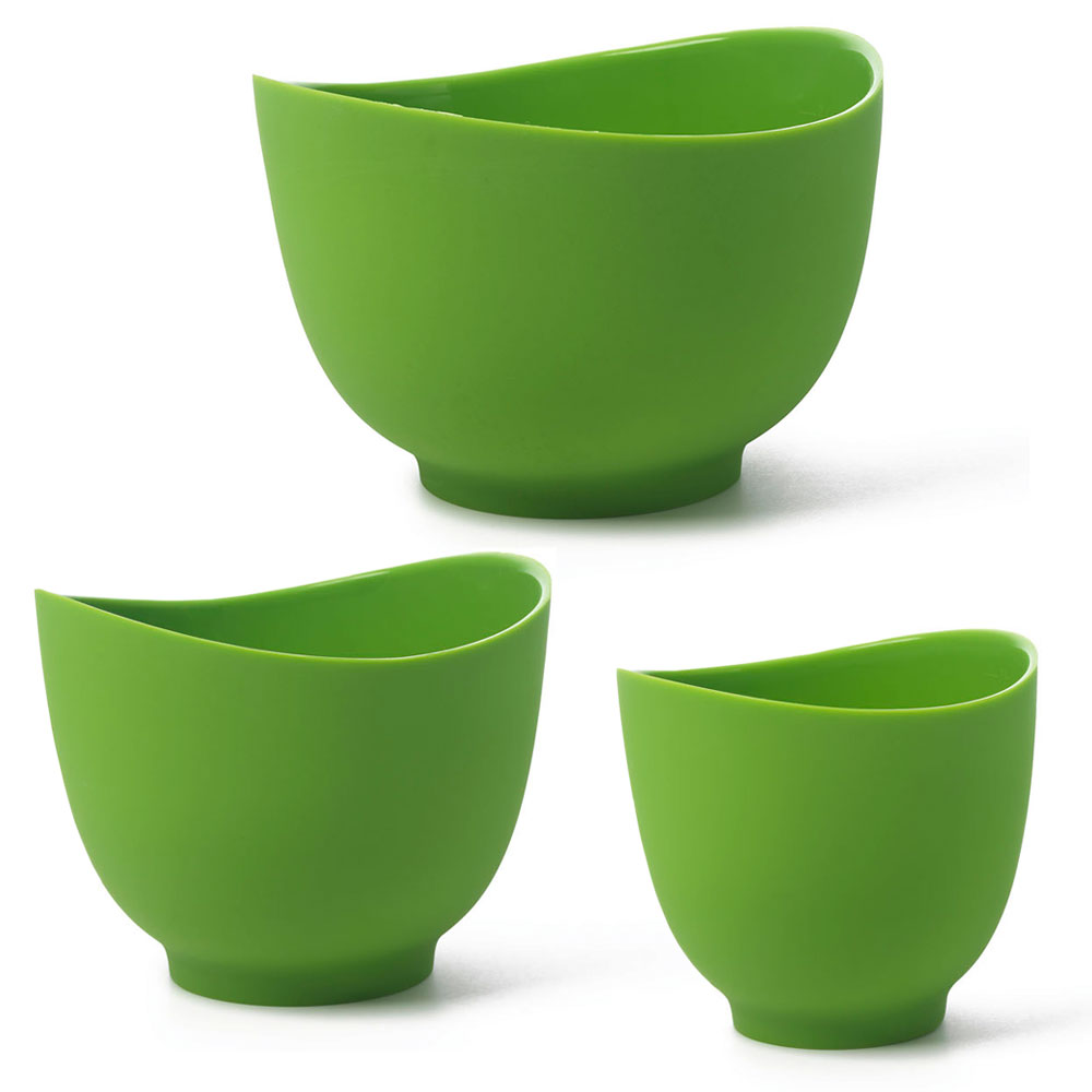 iSi B251 04 Flexible Mixing Bowl Set w/ 1-qt, 1.5-qt & 2-qt Capacity, Form Anywhere Spout, Wasabi