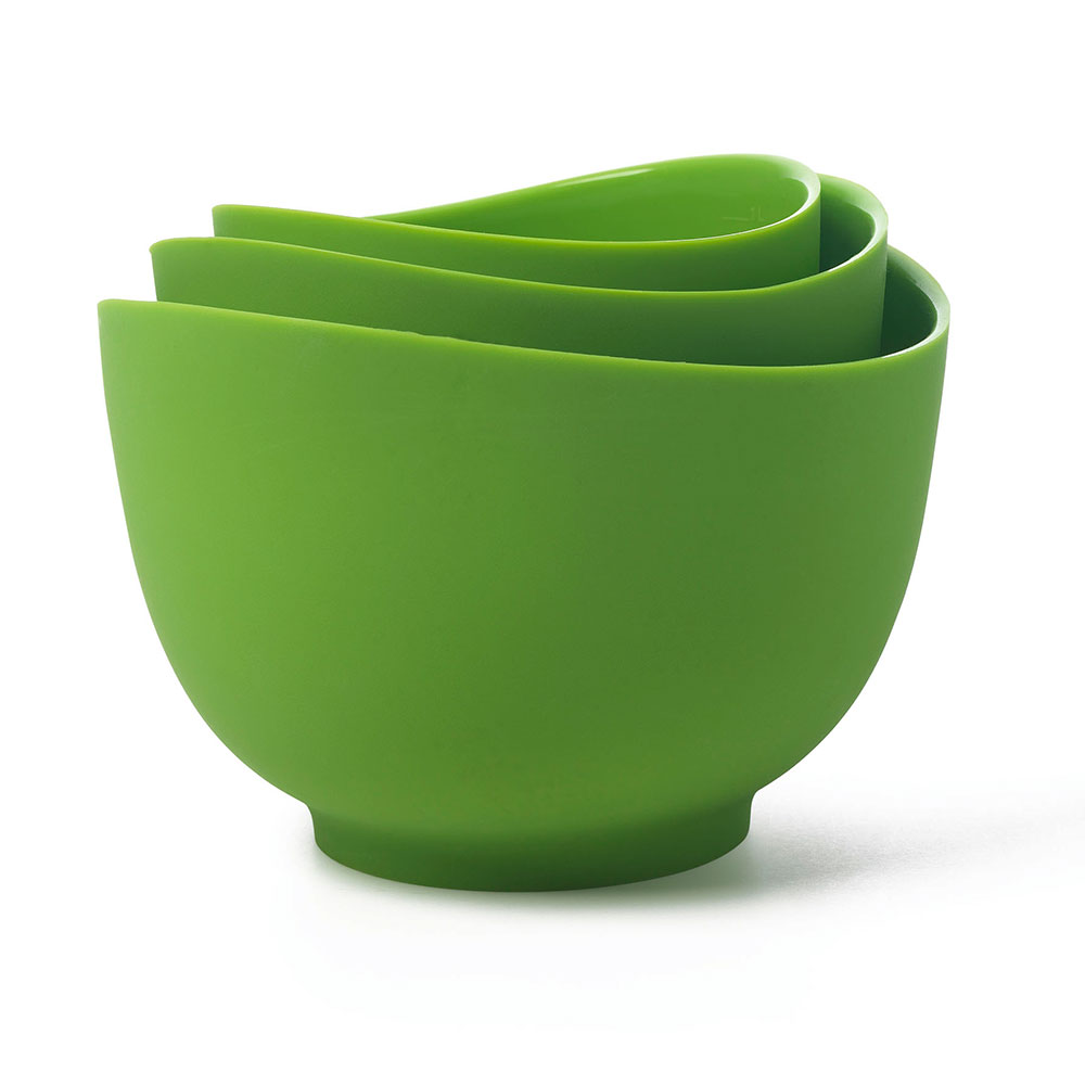 ISI B251 04 Flexible Mixing Bowl Set w/ 1-qt, 1.5-qt & 2-qt Capacity, Form Anywhere Spout, Wasabi