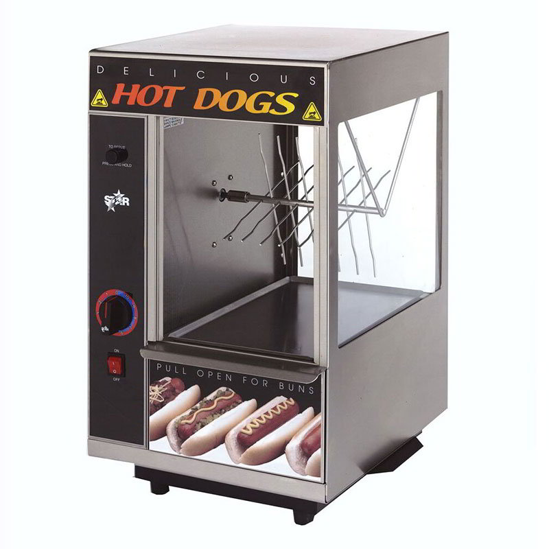 Star 174SBA Hot Dog Broiler w/Bun Warmer, Spike Type, 24-Dog/ 12-Buns