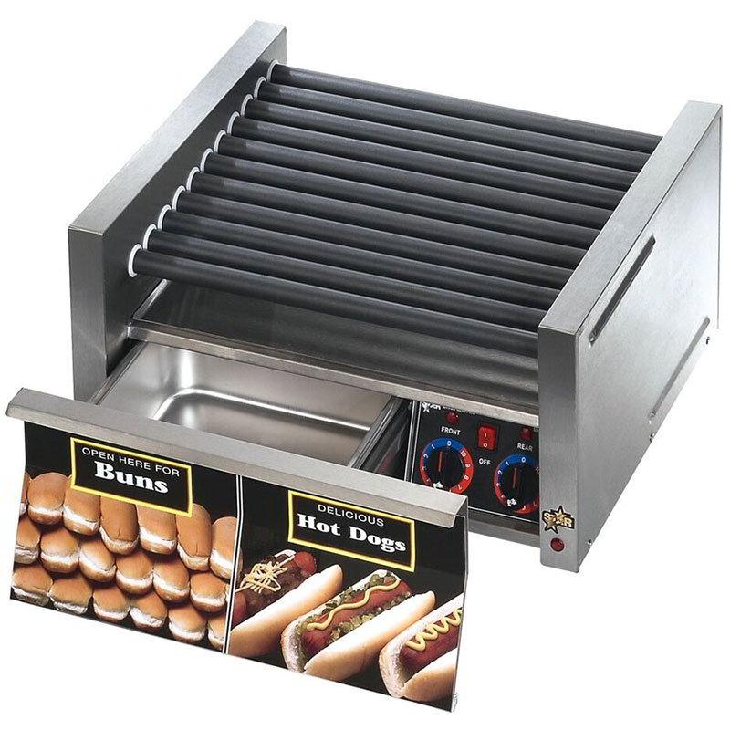 Star 30SCBD 30 Hot Dog Roller Grill w/Bun Storage - Slanted Top, 120v