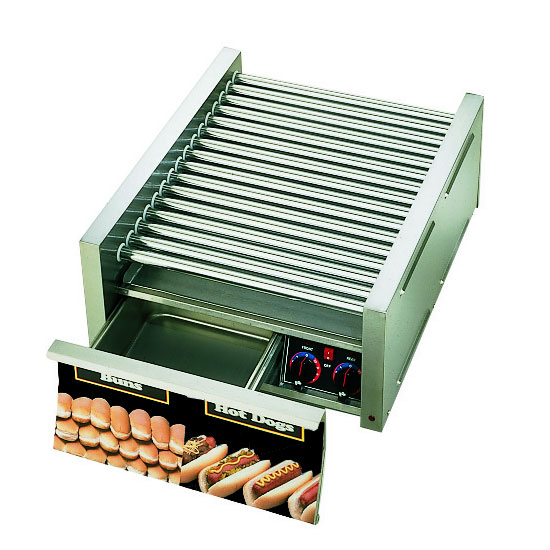 Star 45CBD 45 Hot Dog Roller Grill w/Bun Storage - Slanted Top, 120v