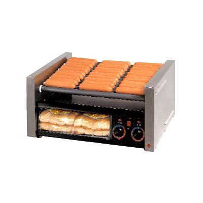 Star 50CBBC 50 Hot Dog Roller Grill w/Bun Storage - Slanted Top, 120v