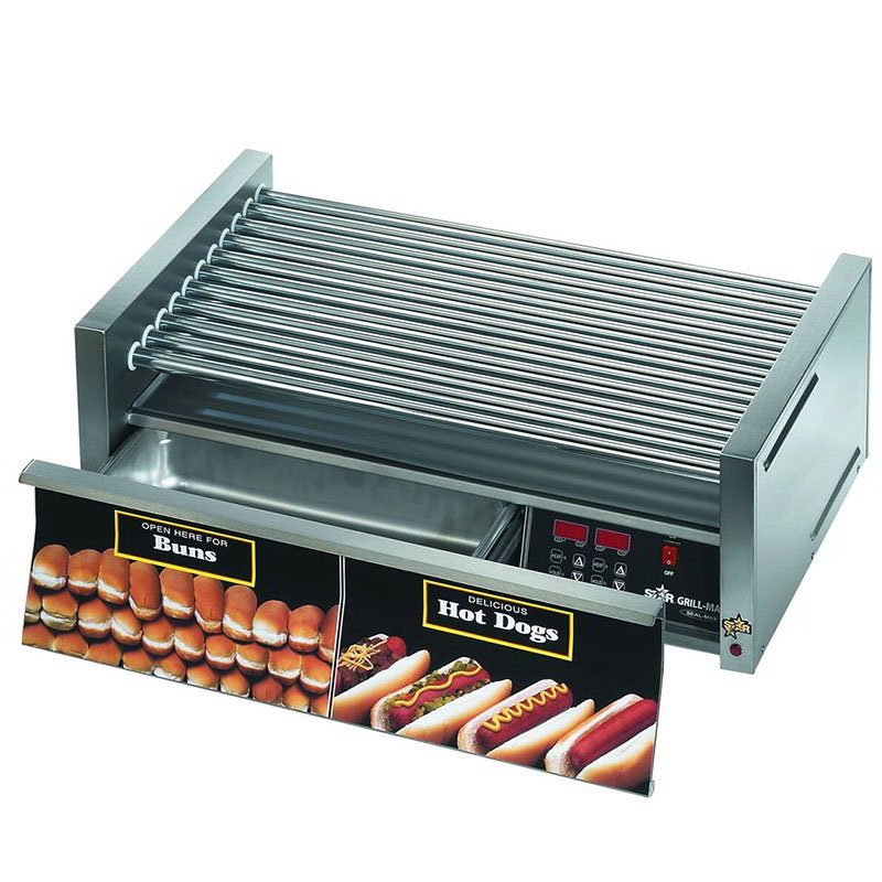Star 50CBDE 50 Hot Dog Roller Grill w/Bun Storage - Slanted Top, 120v