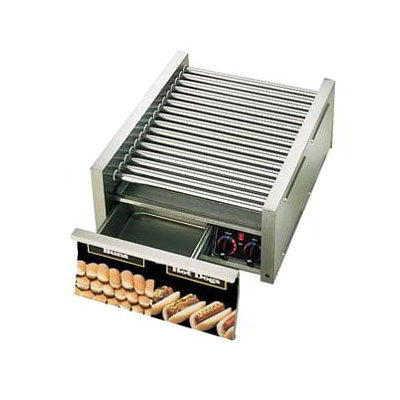 Star 50SCBD 50 Hot Dog Roller Grill w/Bun Storage - Slanted Top, 120v