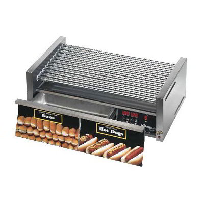 Star 50SCBDE 50 Hot Dog Roller Grill w/Bun Storage - Slanted Top, 120v