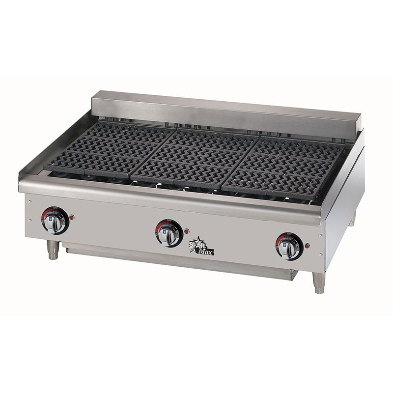 Star 5136CF 36-in Charbroiler w/ Removable Cast Iron Grids & Water Pan, 208/3