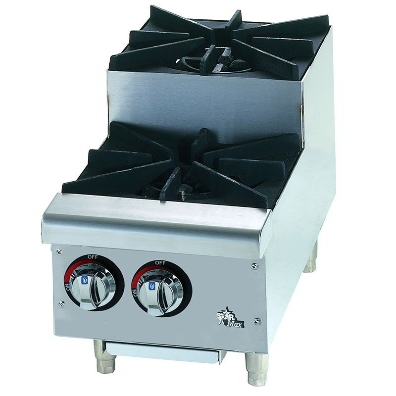 "Star 602HF-SU 12"" Step Up Gas Hotplate - 2-Burners, Manual Controls"